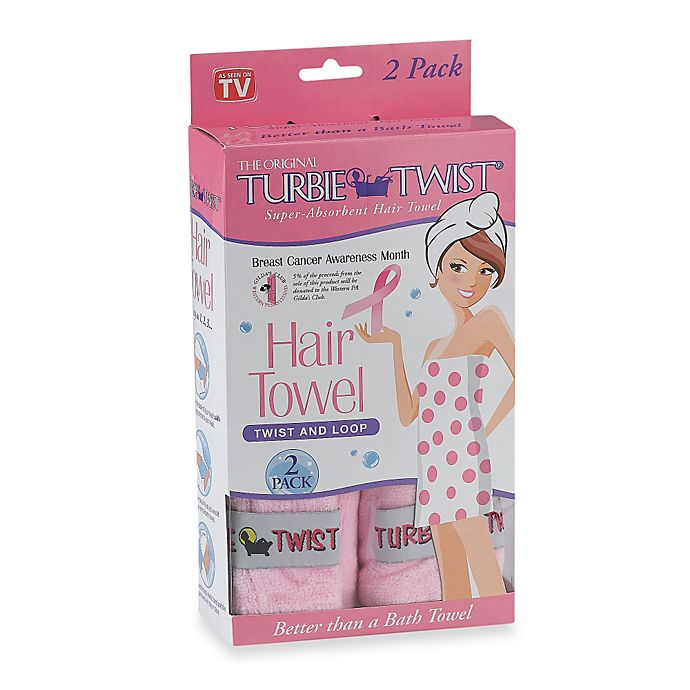 Alternate image 1 for The Original Turbie Twist® Super-Absorbent Hair Towel in Pink (Set of 2)