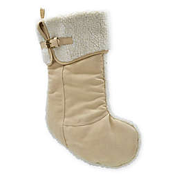Suede Boot Stocking with Fleece in Tan