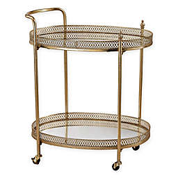 Sterling Industries Julep Series Banded Oval Bar Cart in Gold