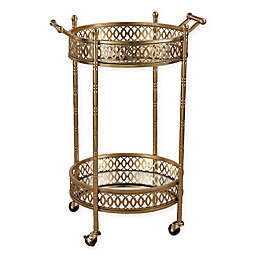 Sterling Industries Julep Series Banded Round Bar Cart in Gold