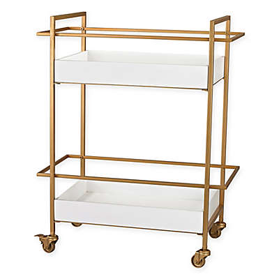 Sterling Industries Kline Retro Bar Cart in White and Gold