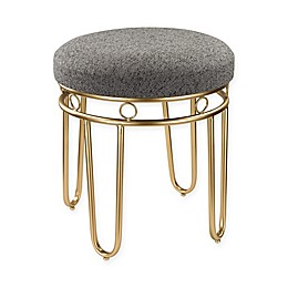 Sterling Industries Gold Legged Linen Stool in Grey