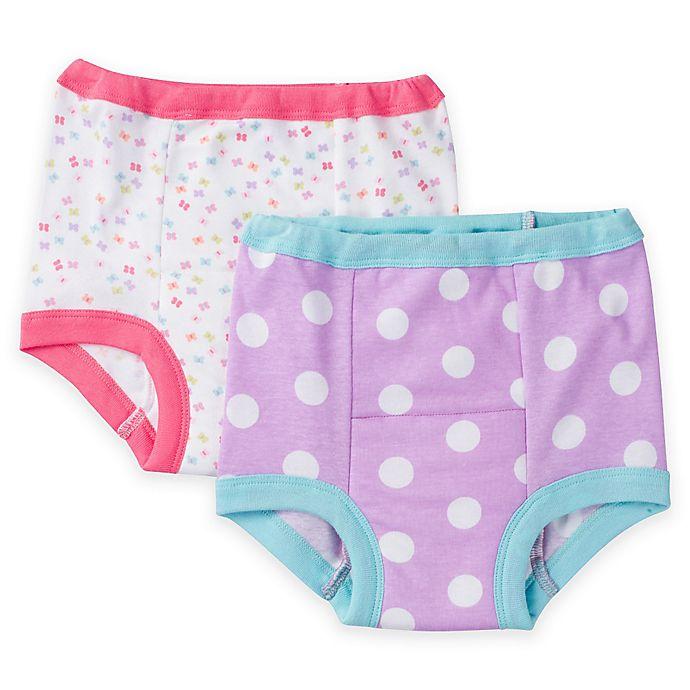 Alternate image 1 for Gerber® Girl 2-Pack Cloth Training Pants in Butterfly/Dot