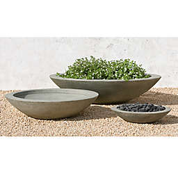 Campania International Low Zen Round Cast Stone Planter