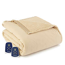 Micro Flannel® Quilted Top Reversing to Sherpa Electric Heated King Blanket in Chino