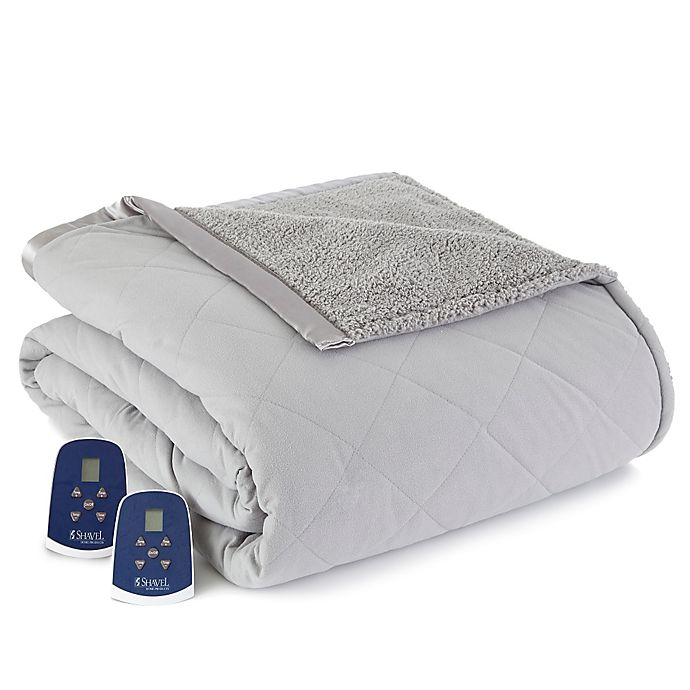 Alternate image 1 for Micro Flannel® Reverse to Sherpa Electric Heated Blanket