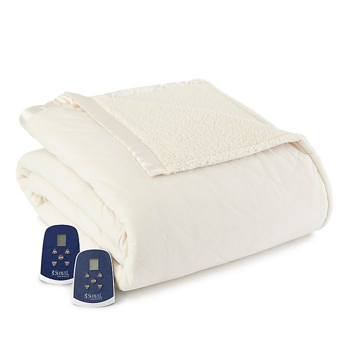 Alternate image 1 for Micro Flannel® Quilted Top Reversing to Sherpa Electric Heated King Blanket in Ivory