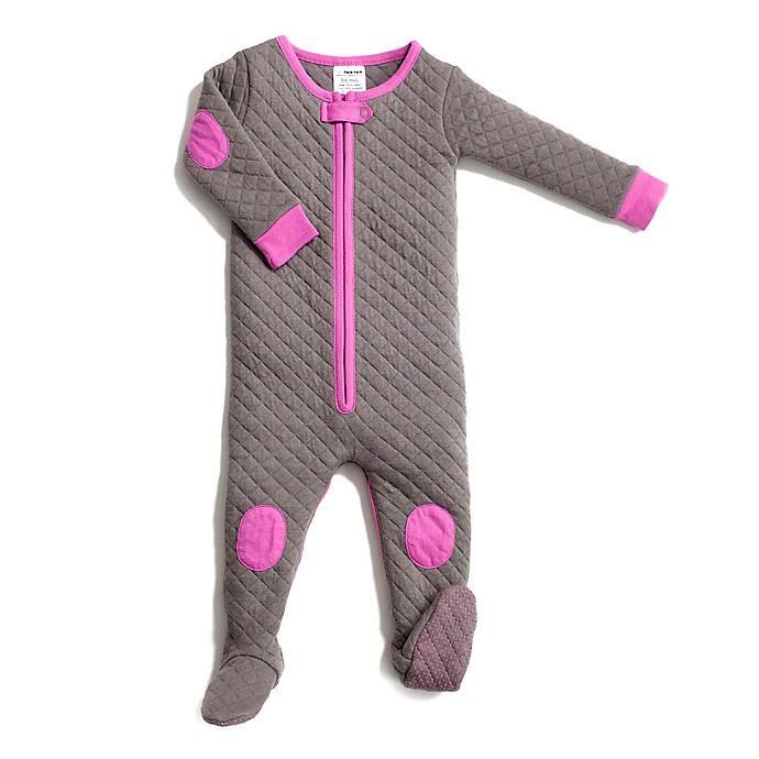 Alternate image 1 for baby deedee® Sleepsie® Footed Pajama in Grey/Pink