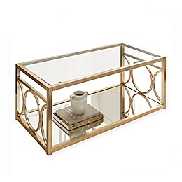 Steve Silver Co. Olympia Cocktail Table in Gold/Glass