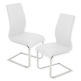 LumiSource Foster Dining Chair in White (Set of 2)