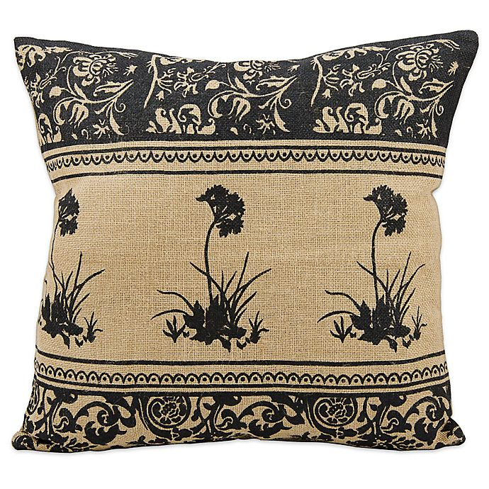 Alternate image 1 for Mina Victory Black Flowers 20-Inch Square Throw Pillow in Natural