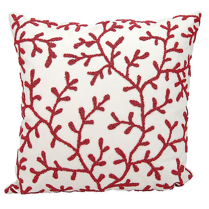 Alternate image 1 for Mina Victory Beaded Seaweed 18-Inch Square Outdoor Throw Pillow in Red/White