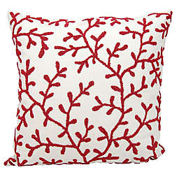 Mina Victory Beaded Seaweed 18-Inch Square Outdoor Throw Pillow in Red/White