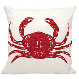 Mina Victory Crab Outdoor Square Throw Pillow in Red/White