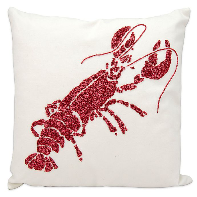 Alternate image 1 for Mina Victory Lobster Square Outdoor Throw Pillow in Red/White