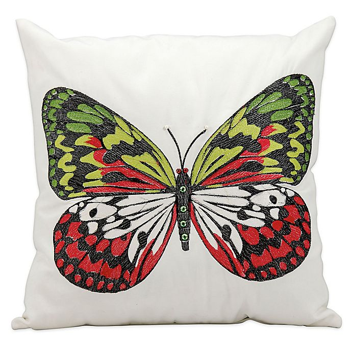 Alternate image 1 for Mina Victory Butterfly 18-Inch Square Outdoor Throw Pillow in White