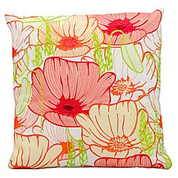 Mina Victory Square Outdoor Primrose Throw Pillow in White