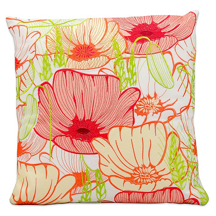 Alternate image 1 for Mina Victory Square Outdoor Primrose Throw Pillow in White