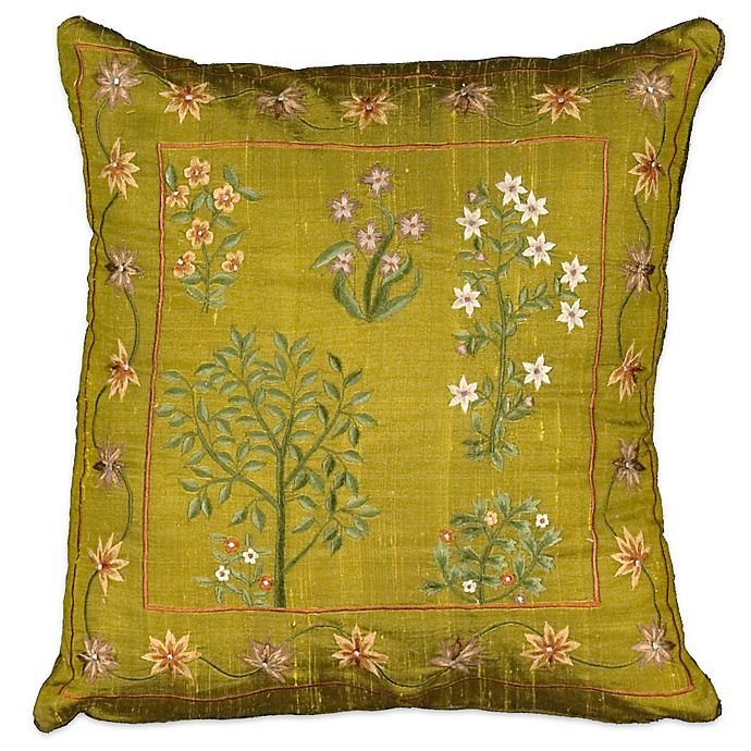 Mina Victory Square Silk Embroidered Throw Pillow In Green Bed Bath Amp Beyond