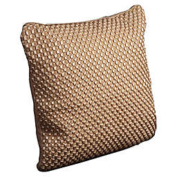 Mina Victory Woven Luster Tapis 20-Inch Square Throw Pillow in Beige