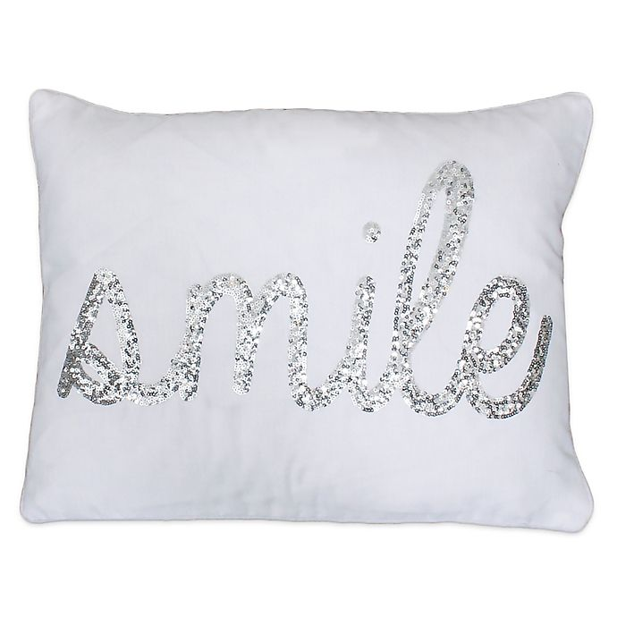 Thro Quot Smile Quot Sequin Script Throw Pillow In White Silver
