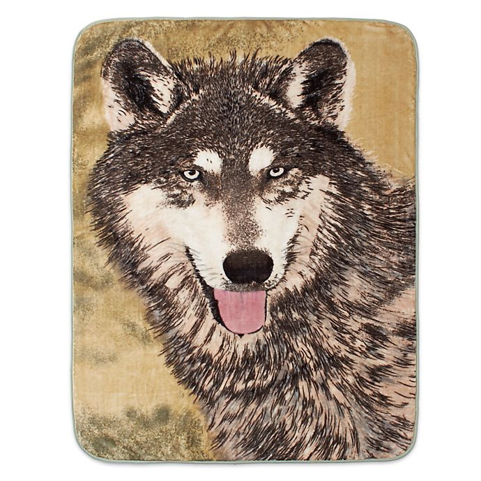 Alternate image 1 for Shavel Home Products Brown Wolf Luxury Oversized Throw Blanket