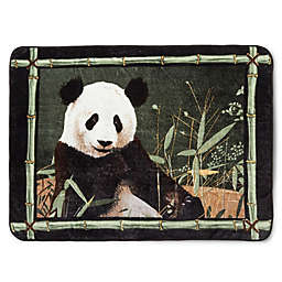 Panda with Bamboo Border Oversized Throw in Black