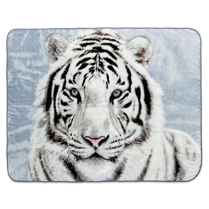 Alternate image 1 for Shavel Home Products White Tiger  Luxury Oversized Throw Blanket