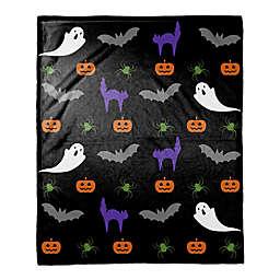 Halloween Damask Throw Blanket