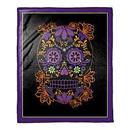 Halloween Sugar Skull Throw Blanket