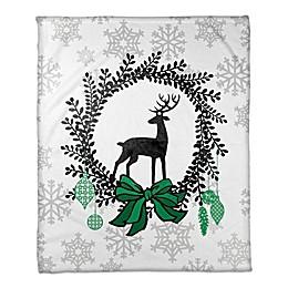 Reindeer Wreath Throw Blanket in White/Black