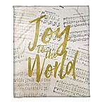 Joy To The World Throw Blanket in Gold/White