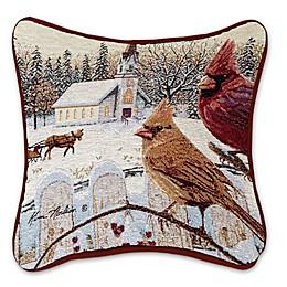 White Crimson Square Throw Pillow