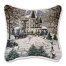 Tapestry Horseless Carriage Holiday Square Throw Pillow in White/Brown