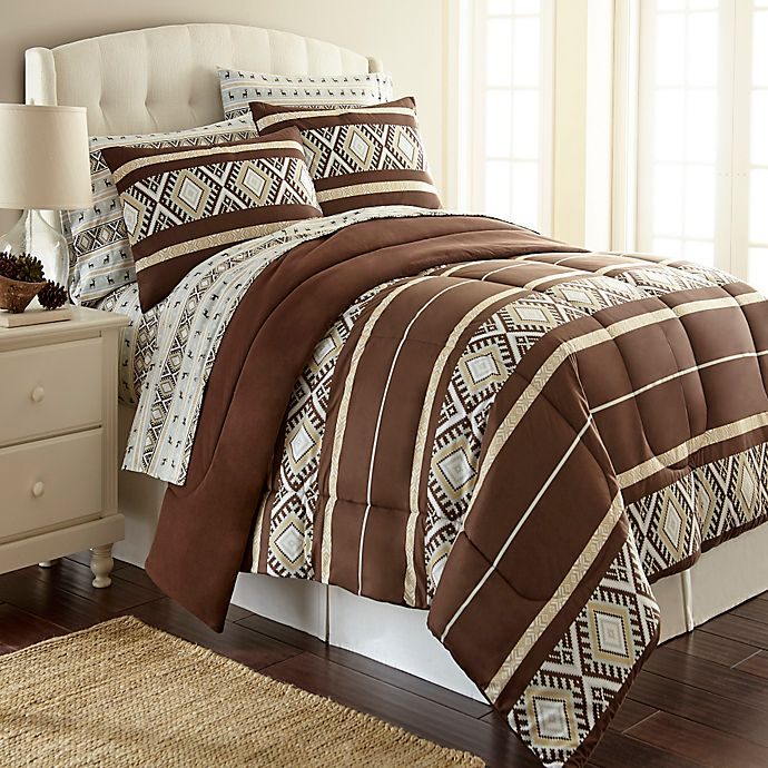 Alternate image 1 for Micro Flannel®  King Comforter Set in Reindeer Stripe