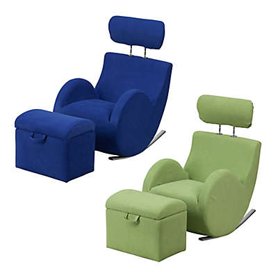 Flash Furniture Hercules Kids Fabric Rocking Chair and Ottoman in