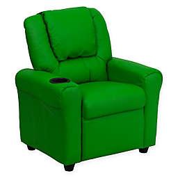 Flash Furniture Vinyl Kids Recliner with Headrest in Green