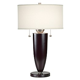 Kathy Ireland Essentials® Deco Table Lamp in Mahogany with Linen Shade