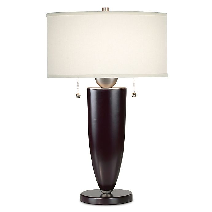 Alternate image 1 for Kathy Ireland Essentials® Deco Table Lamp in Mahogany with Linen Shade