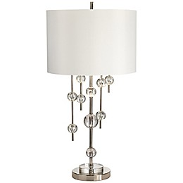 Kathy Ireland Gallery® New York Mod Table Lamp in Polished Nickel with White Drum Shade