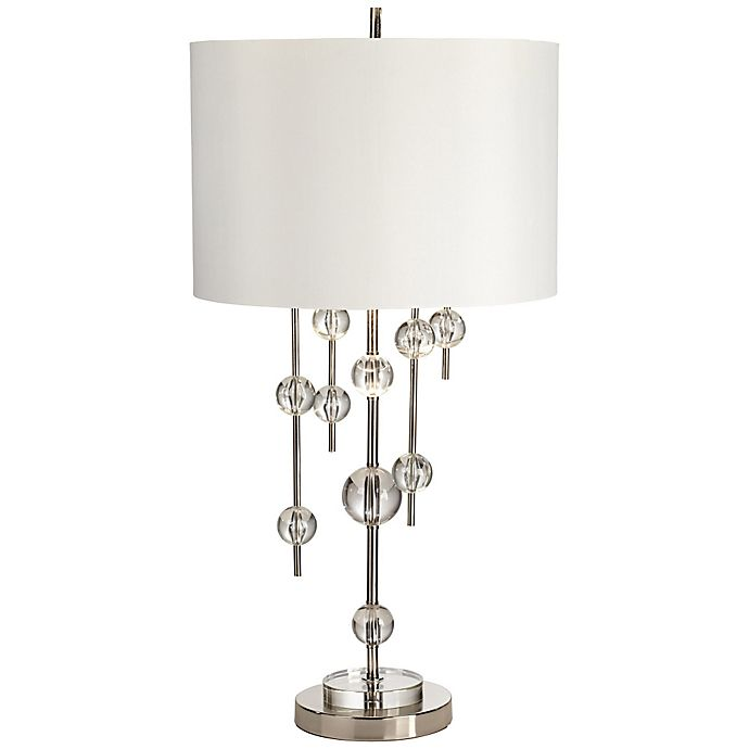 Alternate image 1 for Kathy Ireland Gallery® New York Mod Table Lamp in Polished Nickel with White Drum Shade