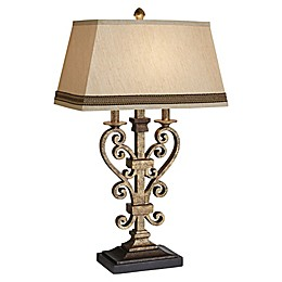 Pacific Coast Lighting® Odessa Table Lamp in Antique Gold with Beige Linen Shade