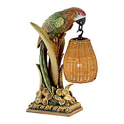Kathy Ireland® Parrot Paradise Table Lantern with Rattan Shade