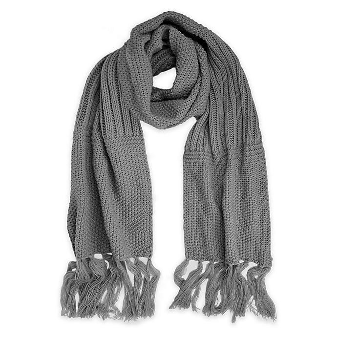 Alternate image 1 for Fringe-Detailed Textured Knit Scarf