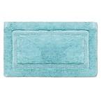 Wamsutta® Luxury 21-Inch x 34-Inch Border Plush MicroCotton Bath Rug in Aqua