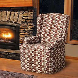 FurnitureSkins™ Avalon Wingback Chair Slipcover in Rustic Red