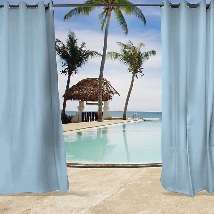 Alternate image 1 for Sunbrella® Canvas Grommet Top Indoor/Outdoor Curtain Panel in Air Blue