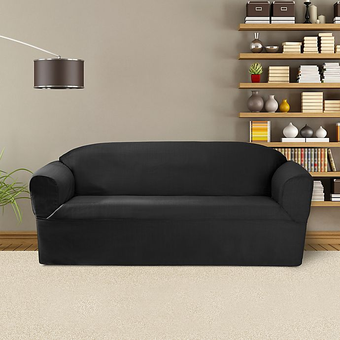 Alternate image 1 for FurnitureSkins™ Bayview 1-Piece Sofa Wrap Style Slipcover in Charcoal