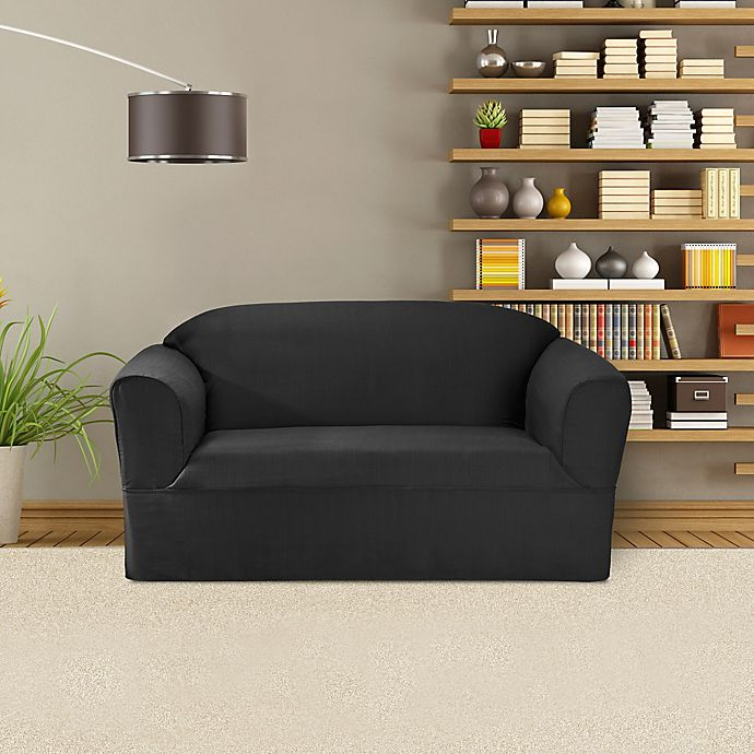 Alternate image 1 for FurnitureSkins™ Bayview 1-Piece Loveseat Wrap Style Slipcover in Charcoal
