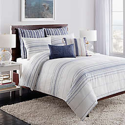 Cupcakes and Cashmere Indigo Stripe Duvet Cover